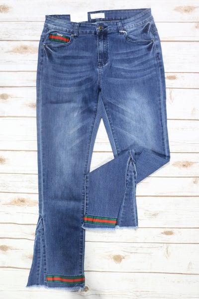 The Melinda Dark Denim Skinny Jean with Raw Flare Hem - Sizes 12-22