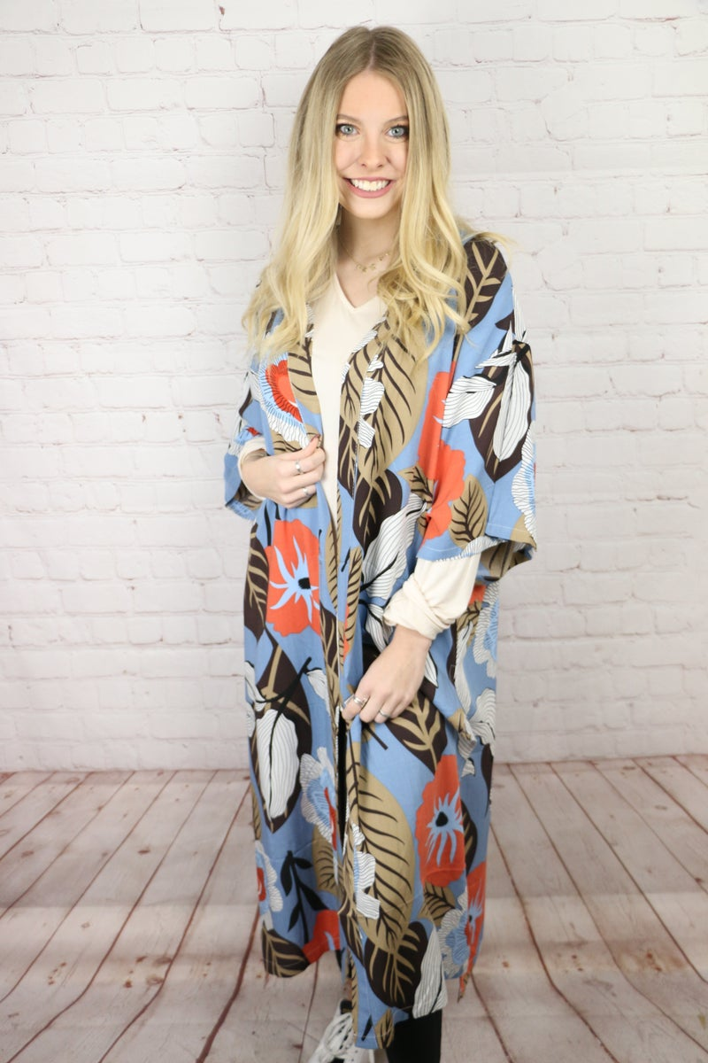 The Good Ole Days Dusty Blue Kimono with Floral Print - One Size