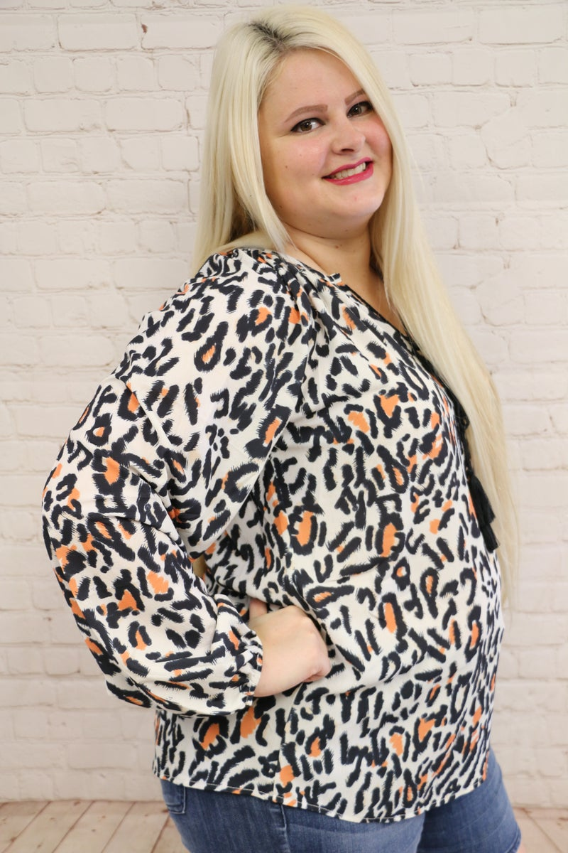 Leopard Print Peasant Blouse in Multiple Sizes ~ Sizes 4-18