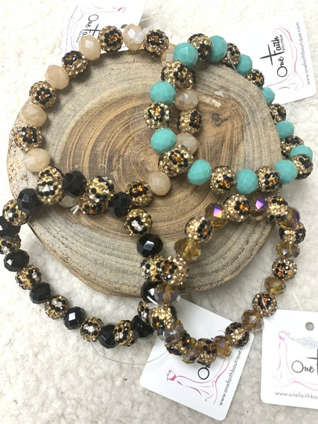 A Cut Above Leopard And Crystal Beaded Stretch Bracelet In Multiple Colors
