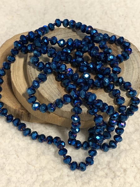 Point Of Perfection Beaded Necklace In Electric Blue