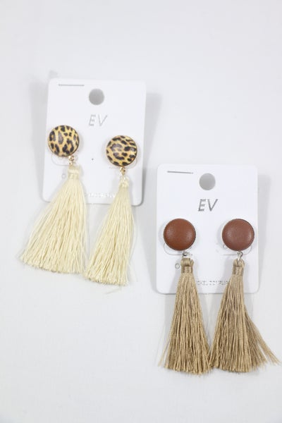 To The End Button Earring With Tassel In Multiple Colors