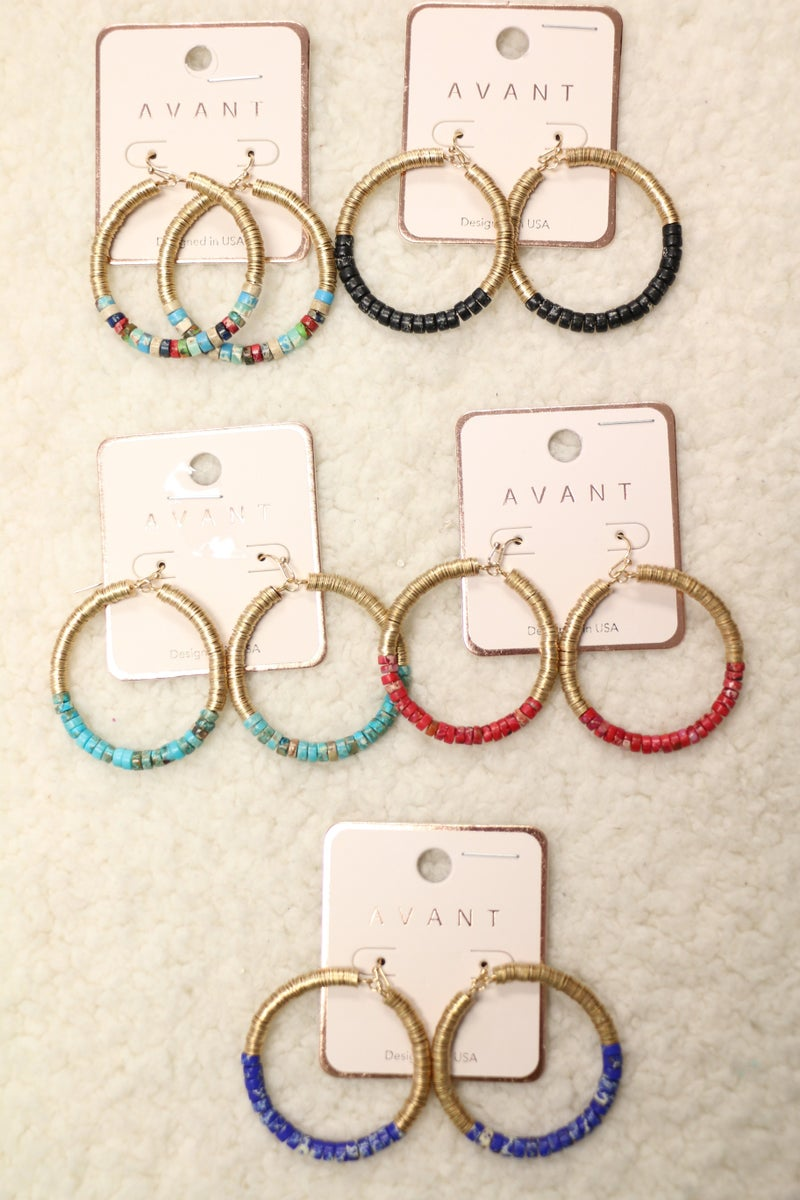 Welcome Home Gold Wire and Beaded Hoop Earring In Multiple Colors