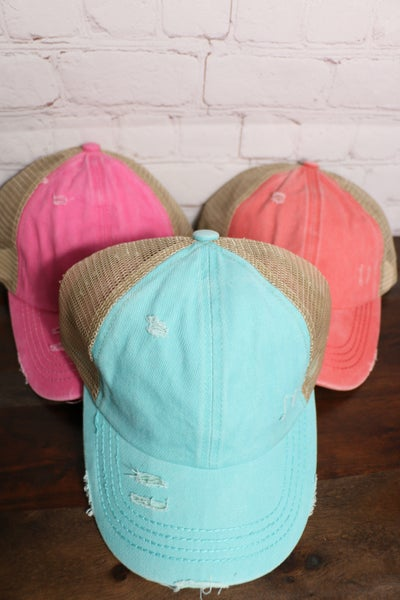 Summer Fun Distressed Criss Cross Cap With Mesh Back In Multiple Colors