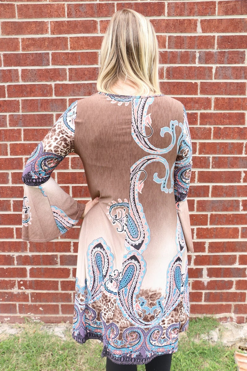 Leave the Windows Open Chocolate Bell Sleeve Paisley Dress - Size 4-10