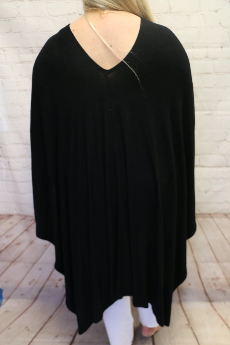One Breath Away Two-Toned V-Neck Poncho in Multiple Colors - One Size Fits All
