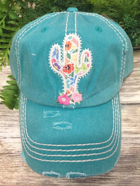 Fun In The Sun Floral Cactus Distressed Ballcap