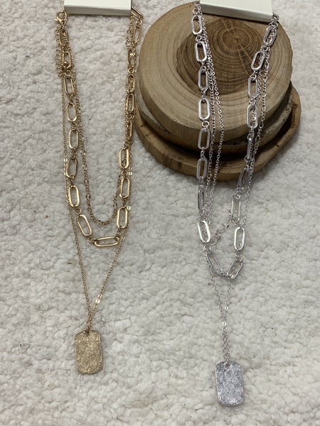 Already There 3 Strand Large Link Necklace With Rectangle Pendant In Multiple Colors
