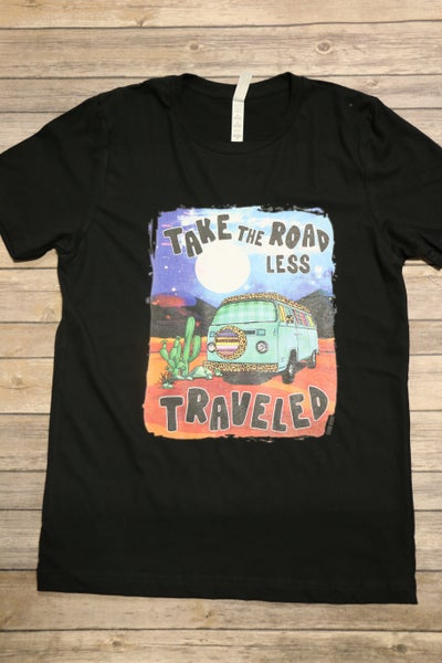 ***PRE-ORDER*** Take The Road Less Traveled Graphic Tee In Black- Sizes 4-20