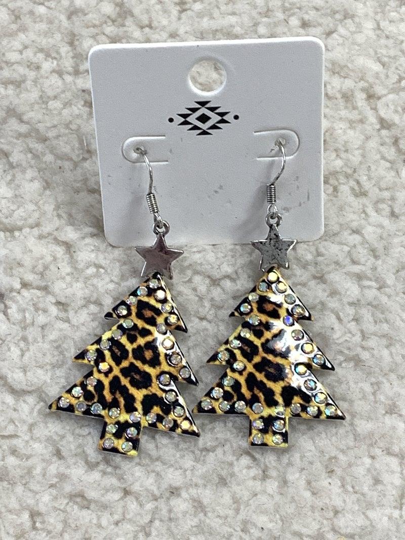 Leopard Bling Christmas Tree Earring In Silver