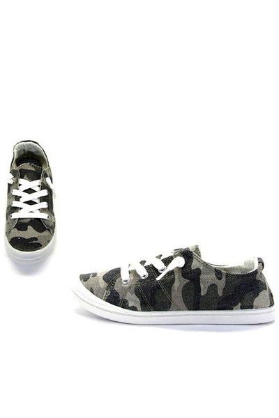 You Can't See Me Camo Slip On Canvas Sneaker - Sizes 5.5 - 10