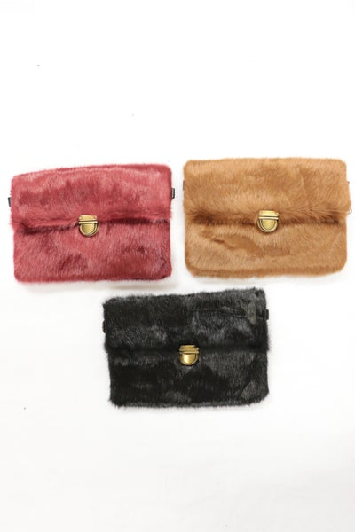 Beautiful Grace Faux Fur 2-in-1 Clutch and Purse in Multiple Colors