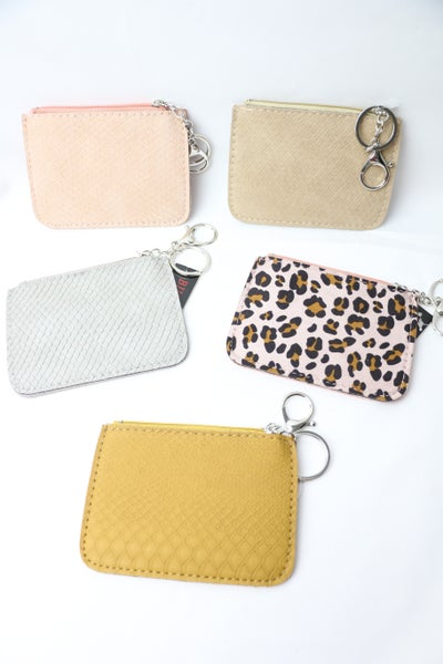 Here We Go Small Textured Wallet Keyring