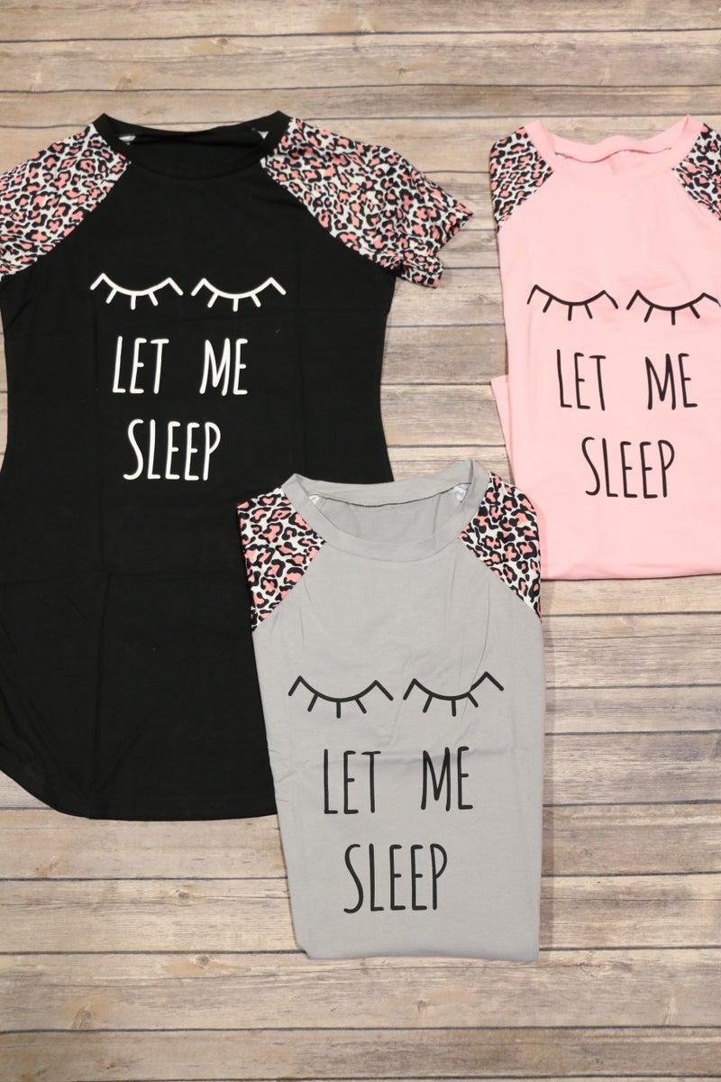 Let Me Sleep Leopard Sleeve Sleep Dress Sizes - 4-12