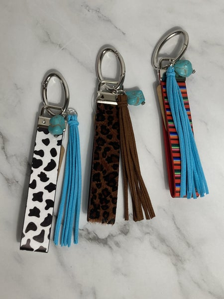Southwest Leather Wristlet Keychain With Turquoise Stone And Leather Tassel In Multiple Colors