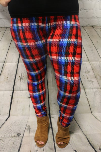 Not Even a Letter Red and Blue Plaid Leggings- Sizes 12-20