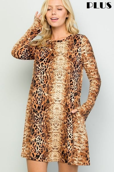 Best of the Show Brown Snakeskin Long Sleeve Dress - Sizes 12-20