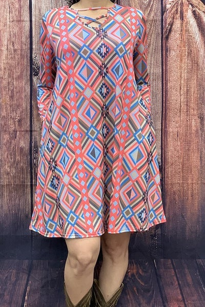 Living Your Life Geometric Print Dress with Criss-Cross Neck - Sizes 4-20