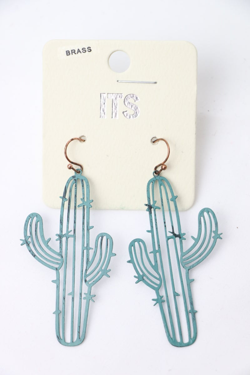 Outstanding Green Metal Cactus Earring