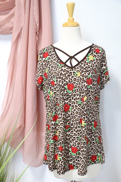All My Life Brown Leopard & Floral Top With Neck Detail- Sizes 12-20