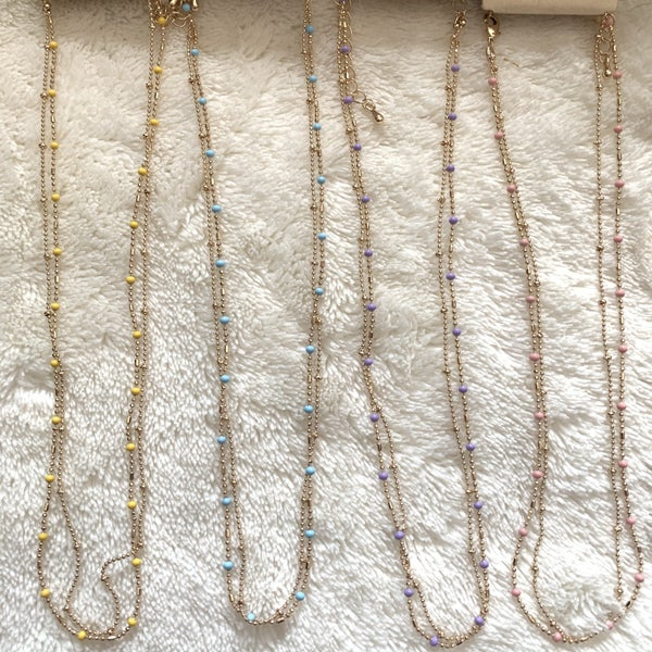 Always Short Gold Double Strand Beaded Necklace In Multiple Colors