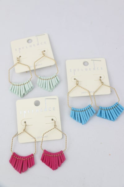 All The Time Gold Hoop Earring With Leather Fringe Tassel In Multiple Colors