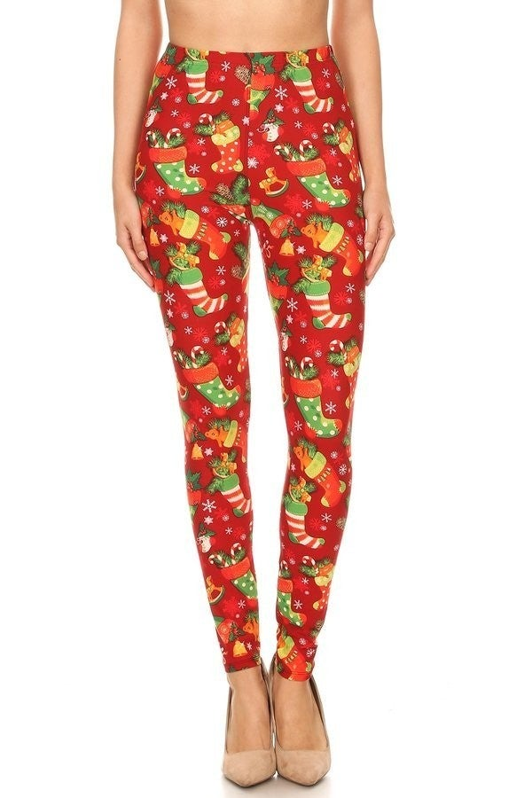 The Stockings were Hung Christmas Stocking Red Legging - Sizes 4-30