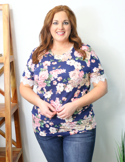 Be the Light Floral Short Sleeve Top with Crochet Accented Sleeve in Multiple Colors - Sizes 12-20