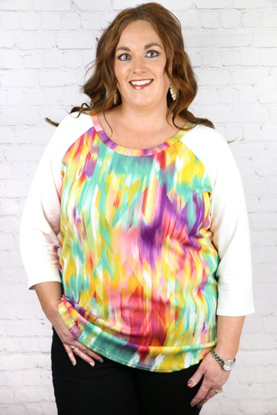 Love Boldly Quarter Sleeve Printed Top in Multiple Colors - Sizes 12-20