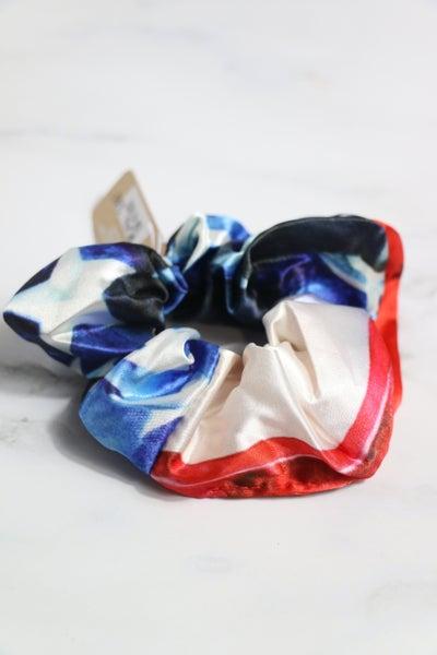 Flag Red White And Blue Satin Hair Scrunchie