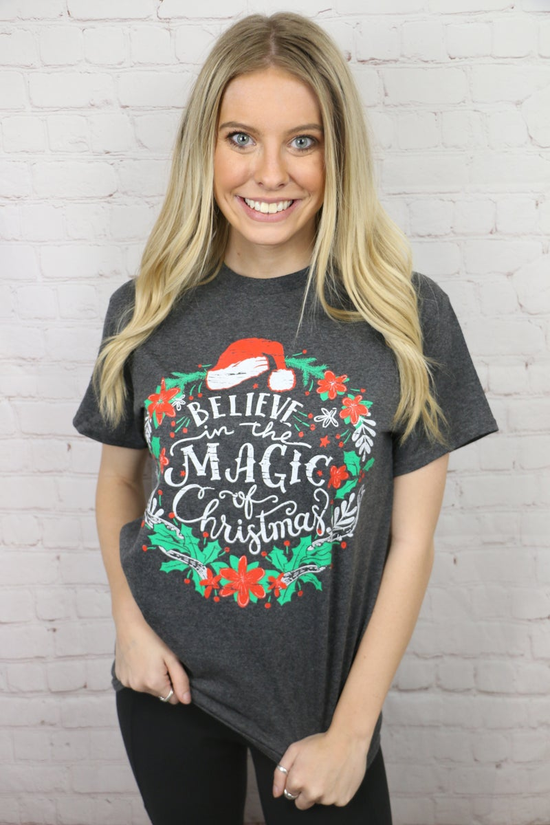 Believe In The Magic of Christmas Graphic Tee in Charcoal - Sizes 4-18