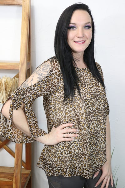 Think About Me Cheetah Cold Shoulder Three Quarter Sleeve Top - Sizes 4-10