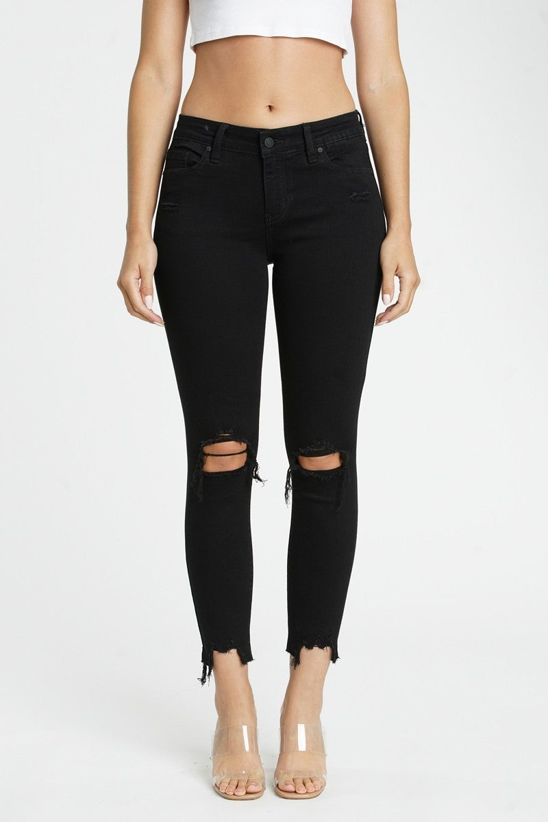 The Hope Black Distressed Skinny Jean with Frayed Hem - Sizes 1-15