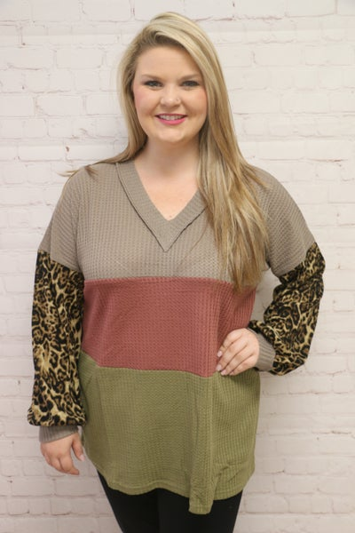 In A Dream Waffle Knit Colorblock Top with Leopard Sleeves - Sizes 4-20