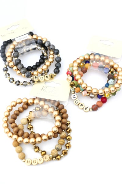 All The Rage 4 Strand Beaded Hope Stretch Bracelet In Multiple Colors