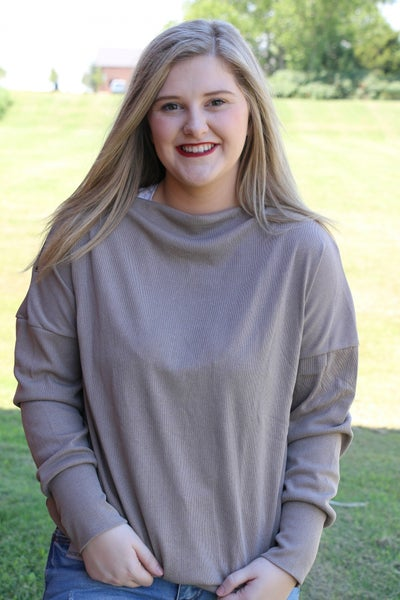 Sugar and Spice Long Sleeve Top with Accent Zipper on Shoulder - Sizes 6-20