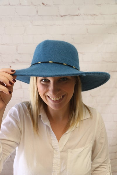 Follow Your Dreams Teal Felt Wide Brim Hat with Accent Navy Leather with Gold Bands