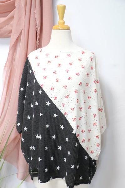 Take Chances Floral & Star Print Contrast Cold Shoulder Top - Sizes 12-20
