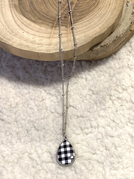 High Time Silver Necklace With White Buffalo Plaid Teardrop Pendant
