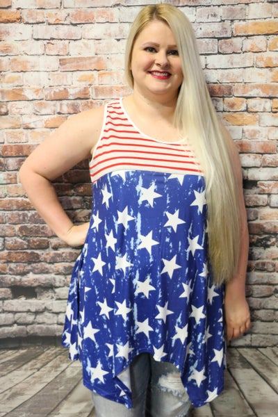 United Together Red Striped Top with Contrasting Blue Star Shark Hem Bottom-Sizes- 4-18