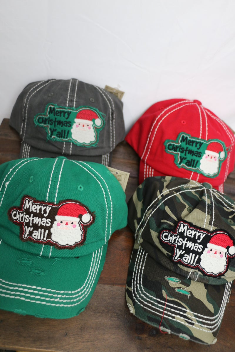 Santa Merry Christmas Y'all! Ballcap in Multiple Colors