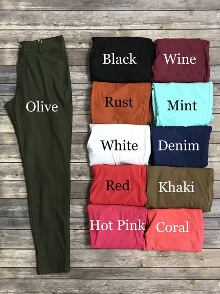 The Zoey Comfy Thin Jeggings - Multiple Colors - Sizes 4-20