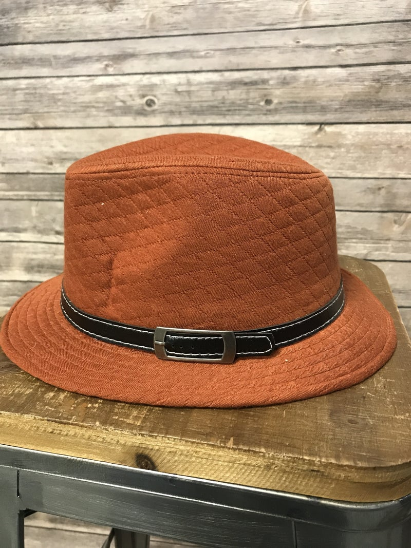 In The Know Rust Quilted Fedora