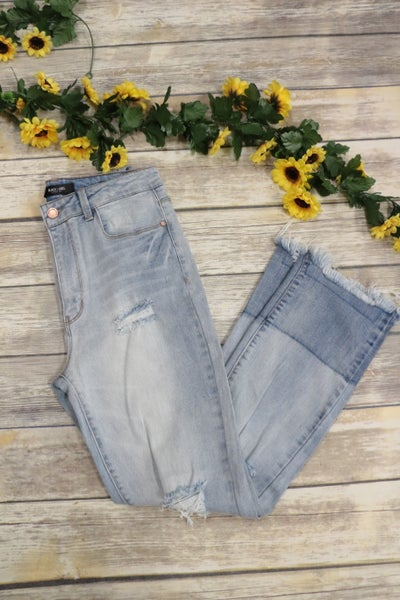 The Jaylee Distressed Jeans With Shaded Hem- Sizes 1-15