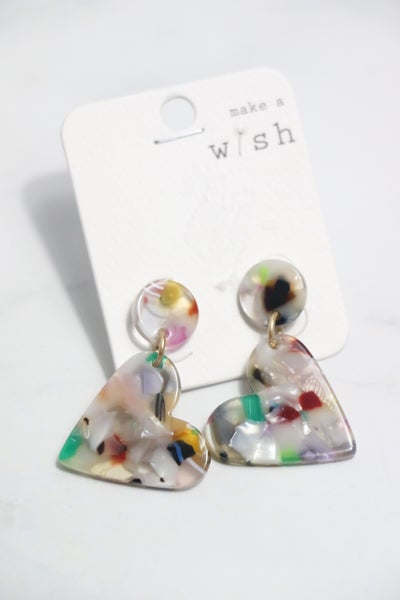 Made For Love Multicolor Acetate Heart Earring