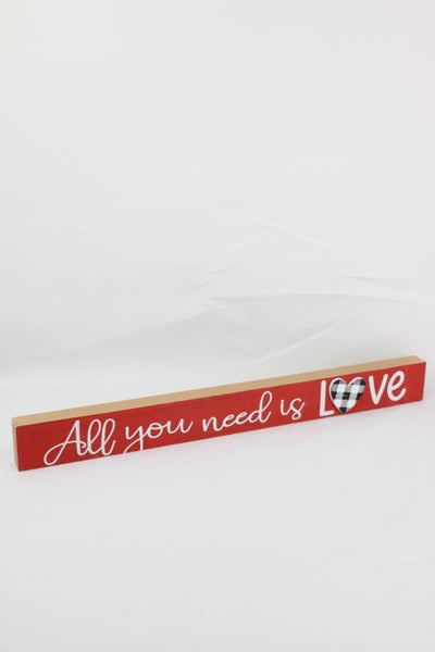 All You Need Is Lover Red Block Sign With Black Buffalo Plaid Heart