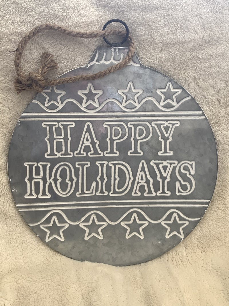 Happy Holidays Large Round Galvanized Metal Ornament Wall Hanging With Rope Hanger
