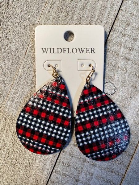 Multiprint Plaid Teardrop Earrings In Red And White