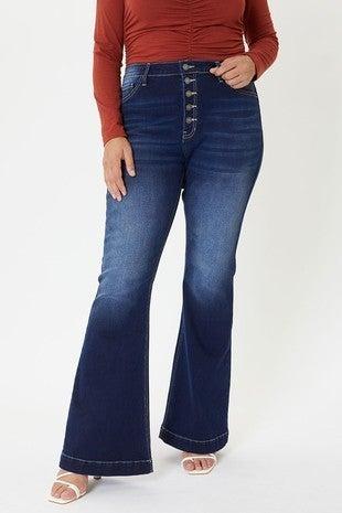 The Emily Five Button Dark Denim Flare Jeans - Sizes 12-20