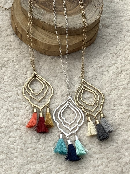 All For You Triple Morrocan Tassel Necklace In Multiple Colors